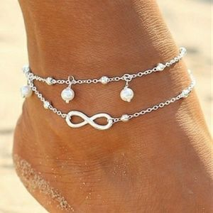 Silver Infinity Pearl Double Chain Anklet